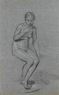 une femme nue, assise, regardant vers le bas, avec une étude subsidiaire d'un pied by pauline auzou
