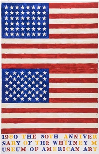 two flags. whitney anniversary poster by jasper johns