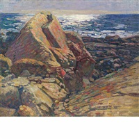large rocks and shining sun on the water by charles salis kaelin