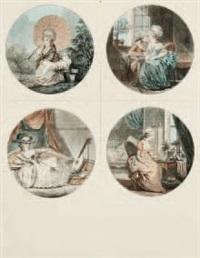 jeune femme assise sur un banc (+ 3 others; 4 works) by jean françois janinet