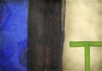 abstract with green t by douglas portway