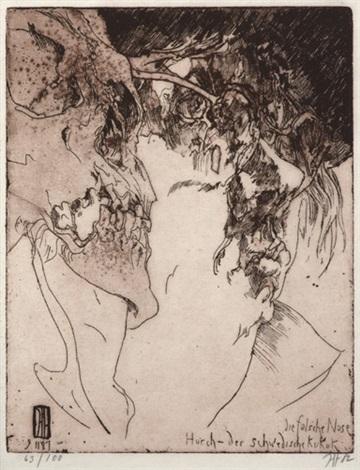 großes lager (+ die falsche nase, horch - der schwedische kukuk, 1982, smllr; 2 works) by horst janssen