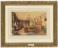 the interior of a gentleman's study in russia by s. tolstoi
