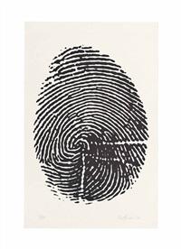 impronta pollice destro, plate seven, from: 8 tavole di accertamento by piero manzoni