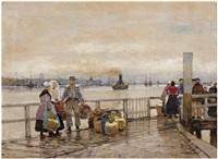 a market scene by a dutch harbour by hans herrmann