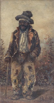 man with cane by william aiken walker
