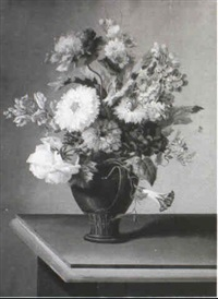 a pair of flower still lifes by johann samuel arnhold
