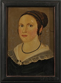 portrait of a young woman wearing a beaded jet necklace and a black dress by american school-prior-hamblen (19)