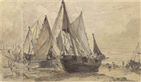 brighton beach, with fishing boats by john constable