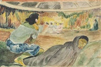 te fare hymenee (copy for monfreid) by paul gauguin