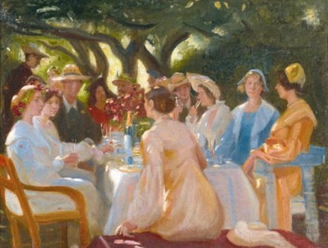 skuespillerfrokost the actors lunch skagen by michael peter ancher