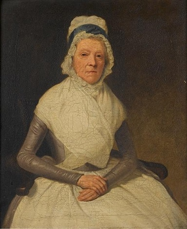portrait of an elderly lady seated, half-length, in a grey dress with a white shawl and a white cloth cap (+ portrait of a lady seated, half-length, in a black dress and a white cloth cap holding a bo by samuel de wilde