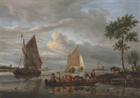 a river landscape with a ferry in the foreground, other shipping beyond by abraham jansz storck