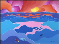 sunset, n.w.t by ted harrison