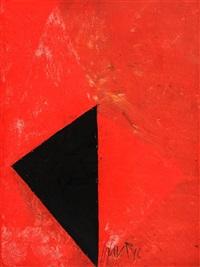 rote komposition mit schwarzem dreieck by edgar hofschen