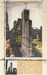 wrapped building (project for 1 times square, allied chemical tower, new york) by christo and jeanne-claude