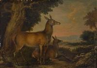 zwei rehe in einer landschaft; jagdszene mit hirsch und hunde by carl borromaus andreas ruthart