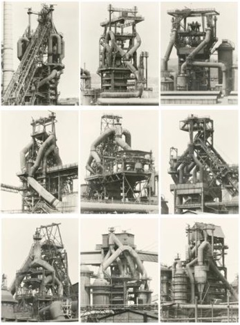 blast furnaces (set of 9) by bernd and hilla becher