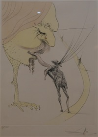 head with a chicken foot sticking its tongue out at a man walking by salvador dalí