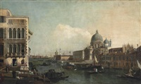 a view of the grand canal, venice, with santa maria della salute and the punta della dogana by bernardo bellotto