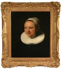 bust portrait of a young woman in ruff collar and bonnet, by frans hals the elder