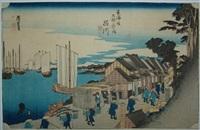 oban yoko-e, série des 55 stations du tokaido, la station 2, le lever du soleil à shinagawa by ando hiroshige