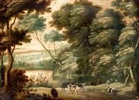 heuvellandschap met koeherder aan de waterkant by david vinckboons