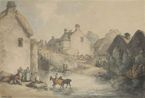 crossing the ford at okehampton devon by thomas rowlandson