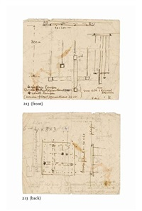 an important technical design sketch for a ceiling light (double-sided) by gerrit thomas rietveld