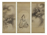 figures and dragons (triptych) by kano yasunobu