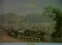 launceston, from windmill hill, 1858 by frederick strange