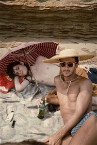 bruce and phillippe on the beach, 1979 by nan goldin