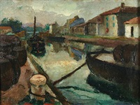 boats along the canal by gerald davis