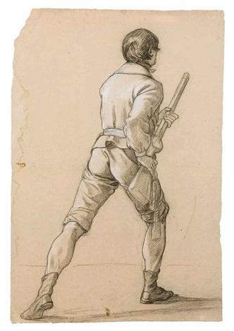 un homme vu de dos tenant un fusil by jean alaux