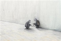 two crouching men by john r. davies