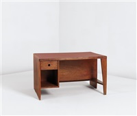 office table desk with bookcase, model no. pj-bu-02-a, designed for the secretariat and administrative buildings, chandigarh by pierre jeanneret
