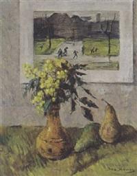 stilleven met bloemen, twee peren en een aquarel by ina hooft
