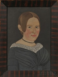 portrait of a blond-haired girl wearing in a blue dress by american school-prior-hamblen (19)