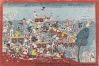 an illustration to the bhagavata purana: krishna and balarama battle jarasandha by anonymous-nepalese (18)