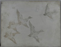 zinc plate for flying widgeon; two mallards (2 works) by frank weston benson