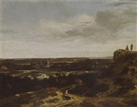 an extensive dune landscape with a woman resting in the foreground, and a view of the village beyond by john van der vaart