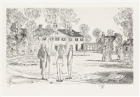 bowling on the green (from twenty masterpieces in etching (life of george washington)) by childe hassam