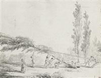 personnages plantant un arbre by hubert robert