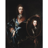 portrait of a member of the french court holding a portrait of louis xv by hyacinthe rigaud