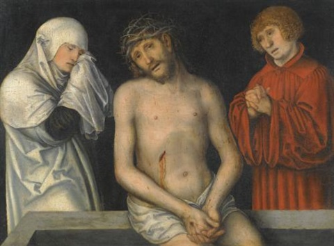christ as man of sorrows together with the virgin and saint john by lucas cranach the younger