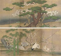 birds and flowers (pair of six-panel screens) by kano morinori
