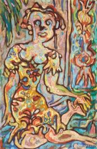 mujer en azul (woman in blue) by rené portocarrero
