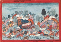 an illustration to the bhagavata purana: krishna and balarama jump to safety from mount gomanta by anonymous-nepalese (18)