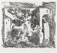 mise en scene de la celestine: le gentilhomme est entraine vers le bauge (from series 347) by pablo picasso