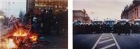untitled (berlin demonstration, fire, cops) (+ untitled (berlin demonstration, police brigade), 2001; 2 works) by josephine meckseper